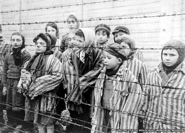 Child survivors at Auschwitz, 1945 (still photo from Soviet archival footage)